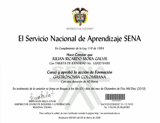 certificado gastronomia colombiana